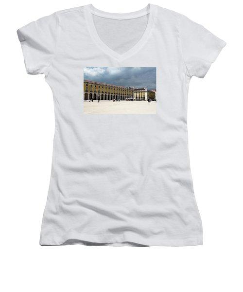 Storm Brews Over Commerce Square Women's V-Neck T-Shirt (Junior Cut) by Lorraine Devon Wilke