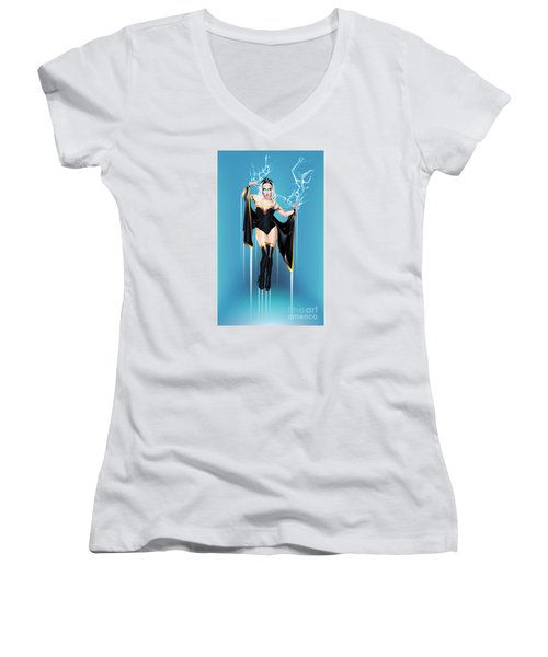 Women's V-Neck T-Shirt (Junior Cut) featuring the drawing Storm by Brian Gibbs