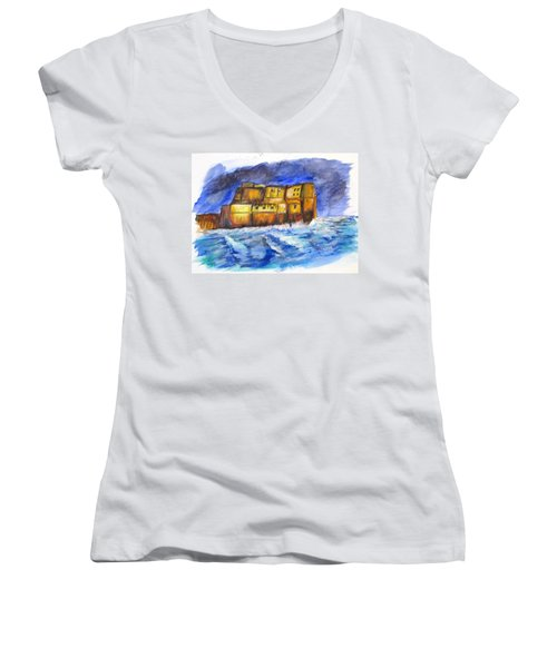 Stormy Castle Dell'ovo, Napoli Women's V-Neck T-Shirt (Junior Cut) by Clyde J Kell