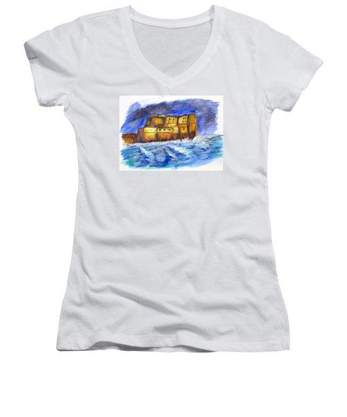 Stormy Castle Dell'ovo, Napoli Women's V-Neck T-Shirt (Junior Cut)