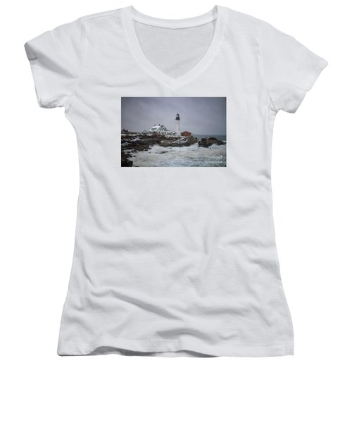 Stormy Portland Head Light Women's V-Neck T-Shirt