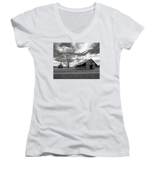 Stormy Weather Women's V-Neck T-Shirt (Junior Cut) by George Randy Bass