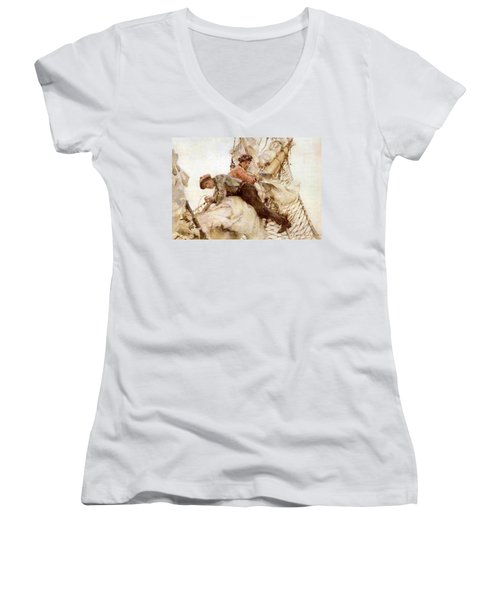 Women's V-Neck T-Shirt (Junior Cut) featuring the painting Stowing The Headsails  by Henry Scott Tuke