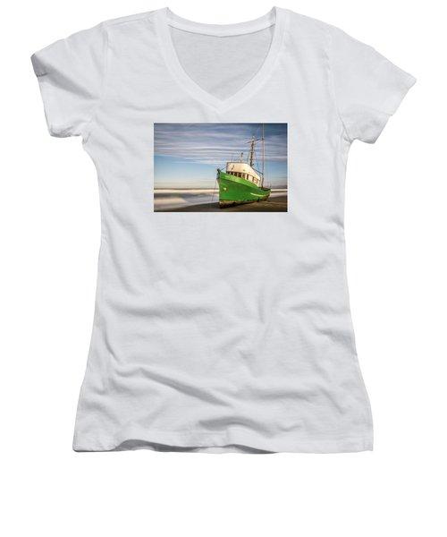 Stranded On The Beach Women's V-Neck T-Shirt (Junior Cut) by Jon Glaser