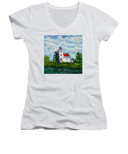 Strawberry Island Lighthouse, Manitoulin Island Women's V-Neck T-Shirt