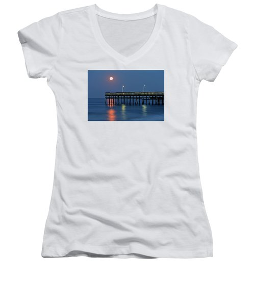 Strawberry Moon Over Sandbridge Women's V-Neck T-Shirt