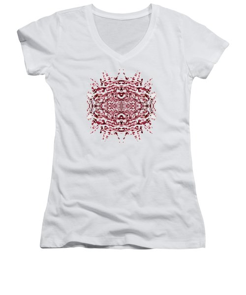 Strawberry Red Abstract Women's V-Neck T-Shirt (Junior Cut) by Frank Tschakert