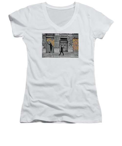 Women's V-Neck T-Shirt (Junior Cut) featuring the photograph Street Art In Malaga Spain by Henry Kowalski