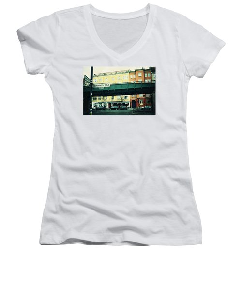 Street Cross With Elevated Railway Women's V-Neck (Athletic Fit)