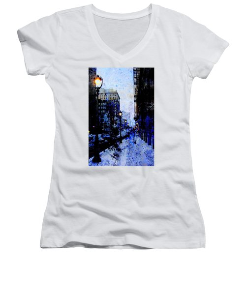 Street Lamps Sidewalk Abstract Women's V-Neck (Athletic Fit)