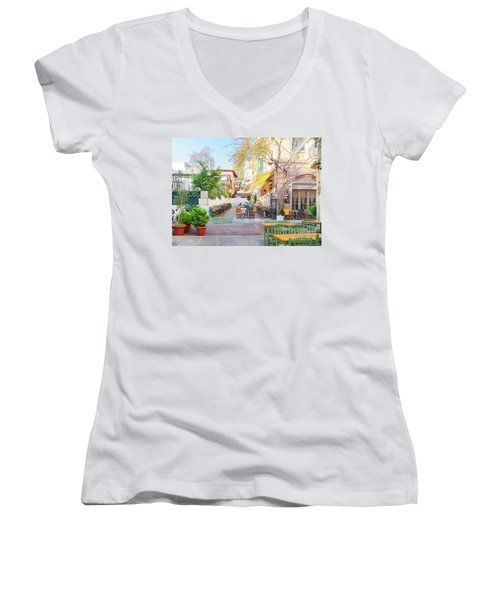 Street Of Athens, Greece Women's V-Neck (Athletic Fit)