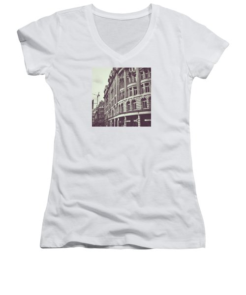 Streets Of London Women's V-Neck T-Shirt (Junior Cut) by Trystan Oldfield