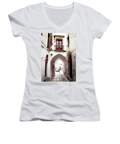 Streets Of Ostuni Women's V-Neck T-Shirt