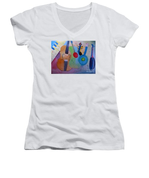 Women's V-Neck T-Shirt (Junior Cut) featuring the painting Strings by Sandy McIntire