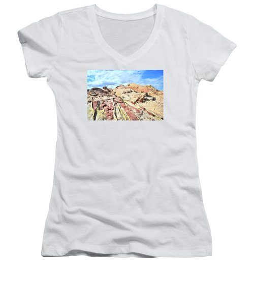 Stripes Of Valley Of Fire Women's V-Neck T-Shirt (Junior Cut) by Ray Mathis
