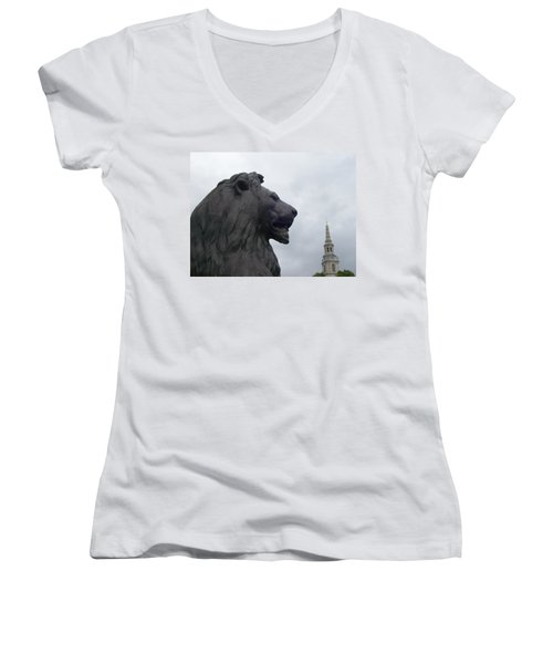 Strong Lion Women's V-Neck (Athletic Fit)