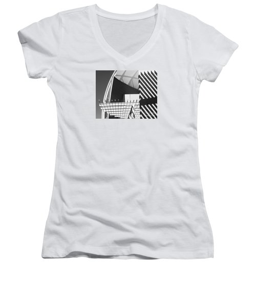 Structure Abstract 3 Women's V-Neck T-Shirt (Junior Cut) by Cheryl Del Toro