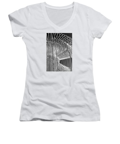 Structure Abstract 4 Women's V-Neck T-Shirt (Junior Cut) by Cheryl Del Toro