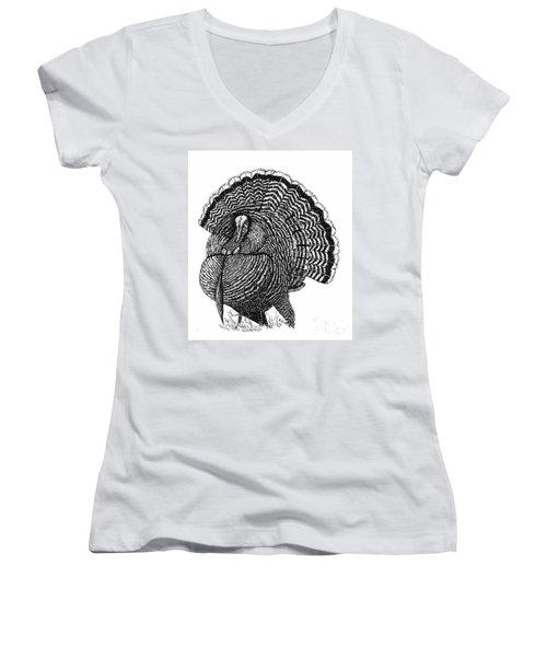 Strutting Gobbler Women's V-Neck T-Shirt (Junior Cut) by Suzanne McKee