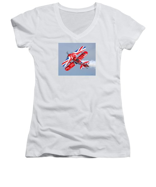 Stunt Plane Women's V-Neck T-Shirt (Junior Cut) by Roy  McPeak