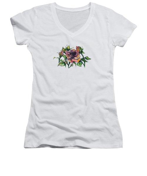 Stylized Roses Women's V-Neck