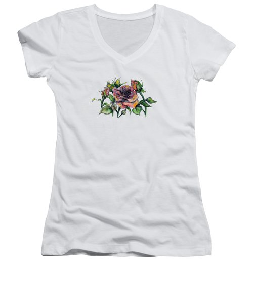 Stylized Roses Women's V-Neck (Athletic Fit)