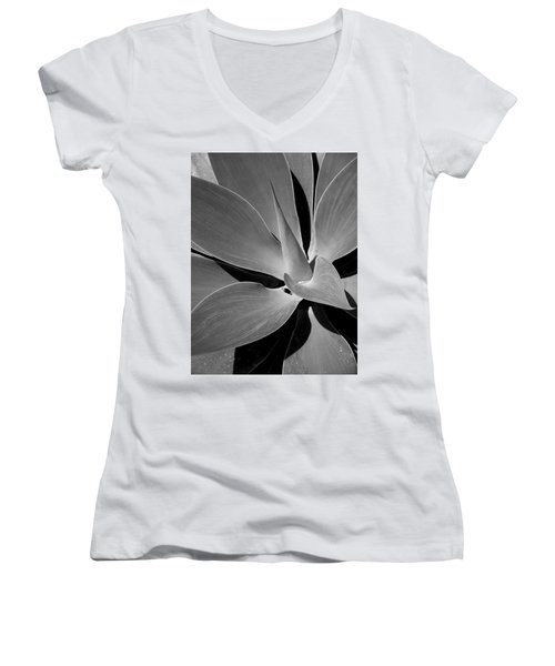 Women's V-Neck T-Shirt (Junior Cut) featuring the photograph Succulent In Black And White by Karen Nicholson