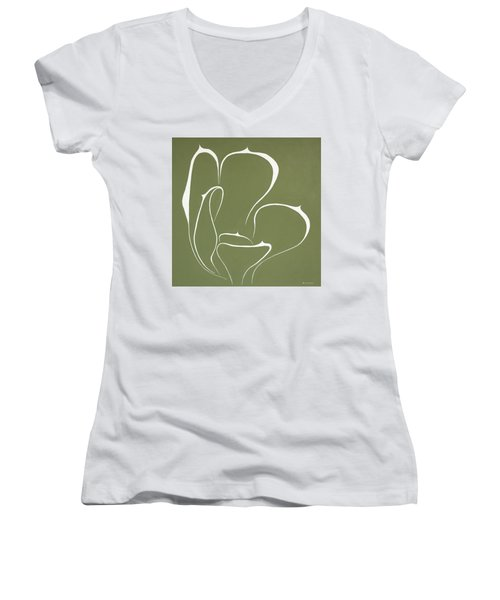 Women's V-Neck T-Shirt (Junior Cut) featuring the painting Succulent In Green by Ben Gertsberg