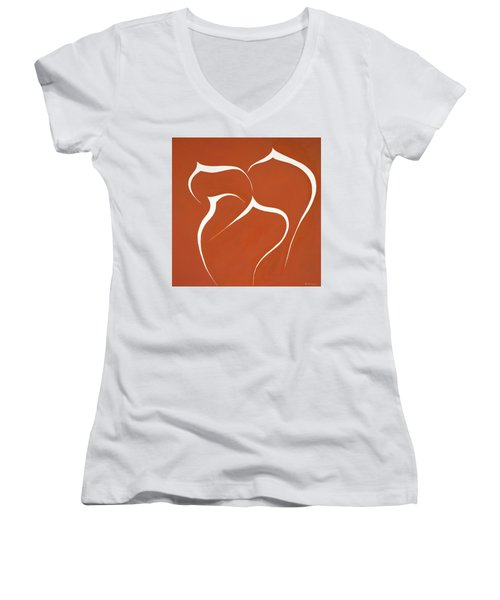 Women's V-Neck T-Shirt (Junior Cut) featuring the painting Succulent In Orange by Ben Gertsberg
