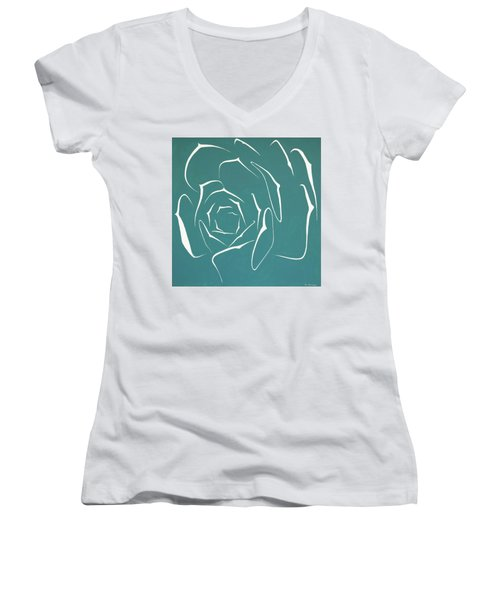 Women's V-Neck T-Shirt (Junior Cut) featuring the painting Succulent In Turquoise by Ben Gertsberg