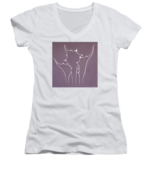 Women's V-Neck T-Shirt (Junior Cut) featuring the painting Succulent In Violet by Ben Gertsberg