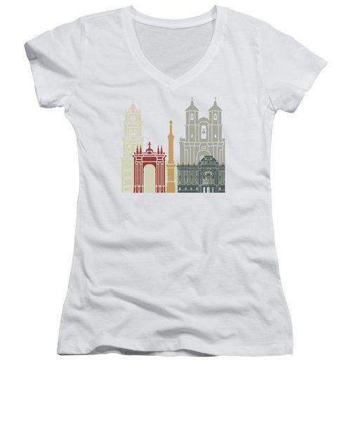 Sucre Skyline Poster Women's V-Neck T-Shirt (Junior Cut)