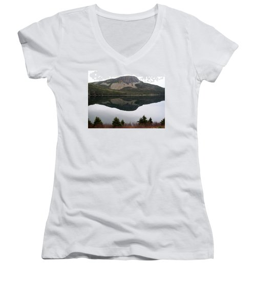 Sugarloaf Hill Reflections Women's V-Neck T-Shirt (Junior Cut) by Barbara Griffin