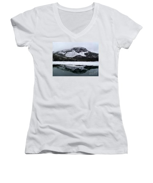 Sugarloaf Hill Reflections In Winter Women's V-Neck T-Shirt (Junior Cut) by Barbara Griffin