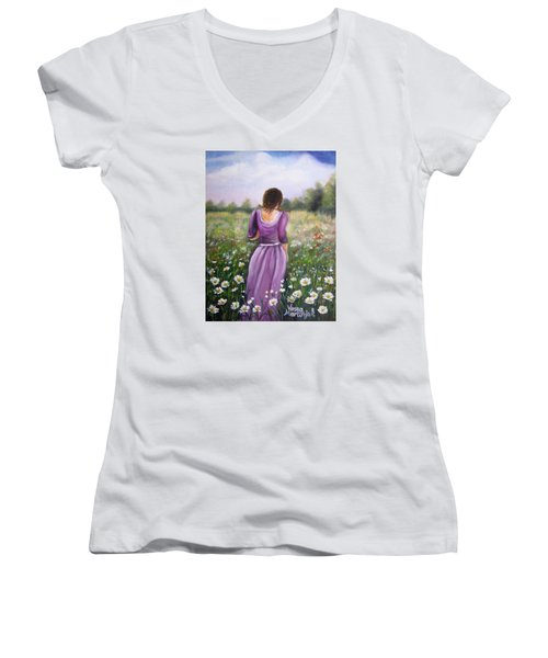 Summer Afternoon Women's V-Neck T-Shirt (Junior Cut) by Vesna Martinjak