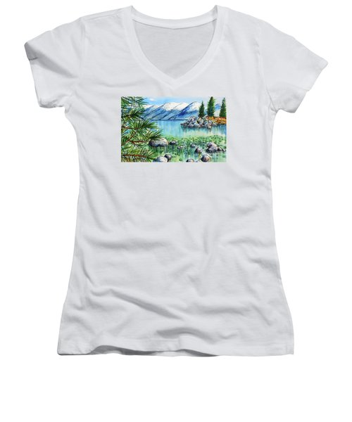 Women's V-Neck T-Shirt (Junior Cut) featuring the painting Summer At Lake Tahoe by Terry Banderas