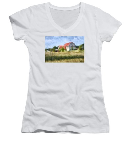 Women's V-Neck T-Shirt (Junior Cut) featuring the digital art Summer Barn by Francesa Miller