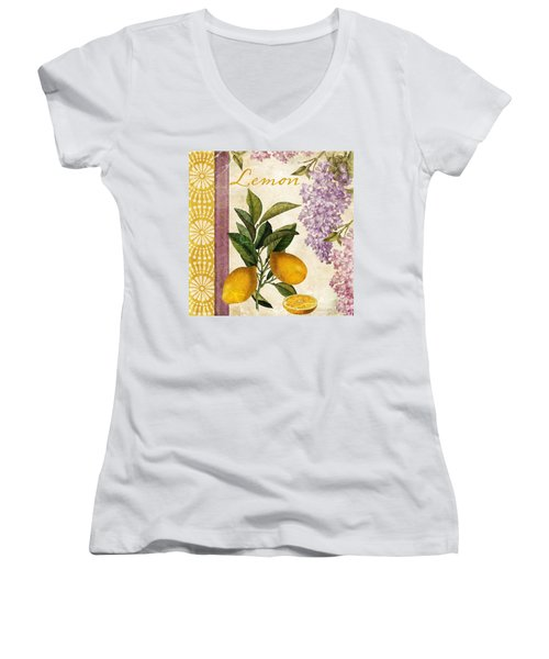 Summer Citrus Lemon Women's V-Neck T-Shirt (Junior Cut) by Mindy Sommers