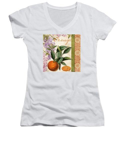 Summer Citrus Orange Women's V-Neck T-Shirt (Junior Cut) by Mindy Sommers