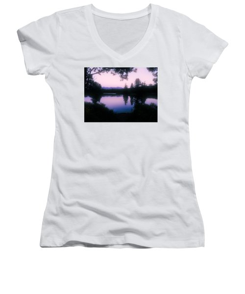 Summer Evening In New Hampshire Women's V-Neck T-Shirt (Junior Cut) by Robin Regan