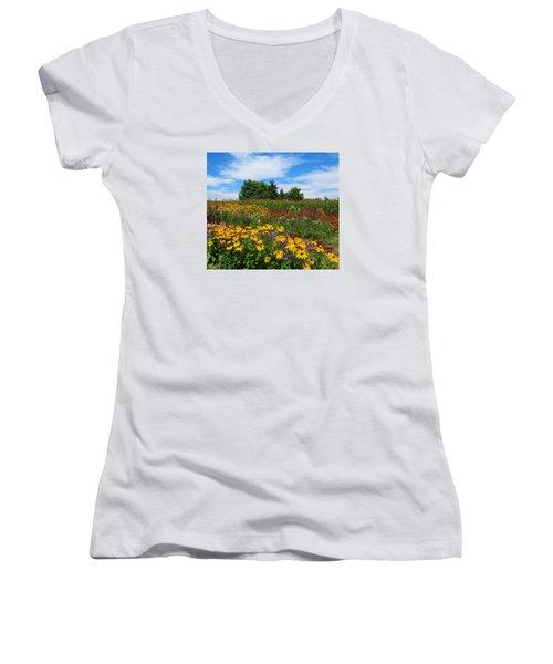 Summer Flowers In Pa Women's V-Neck T-Shirt (Junior Cut) by Jeanette Oberholtzer