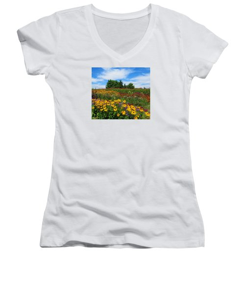 Summer Flowers In Pa Women's V-Neck (Athletic Fit)