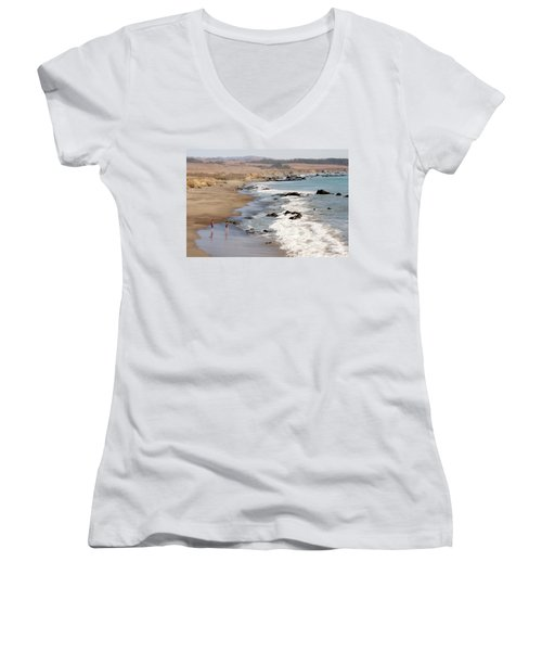 Women's V-Neck T-Shirt (Junior Cut) featuring the photograph Summer In San Simeon by Art Block Collections
