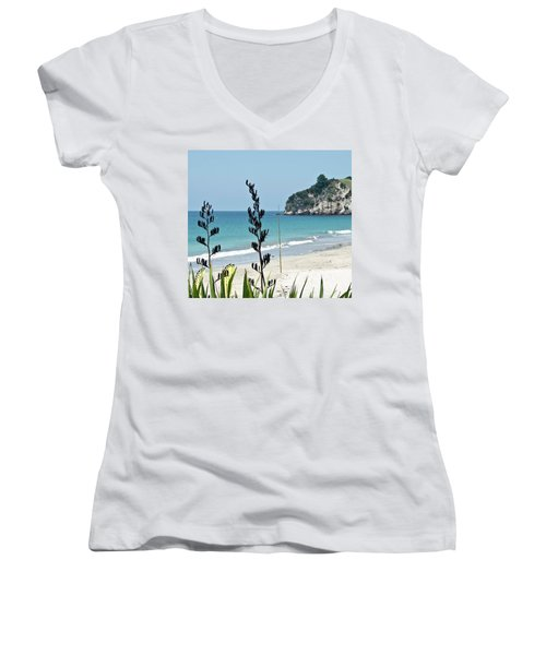 Women's V-Neck T-Shirt (Junior Cut) featuring the photograph Summer New Zealand Beach by Yurix Sardinelly