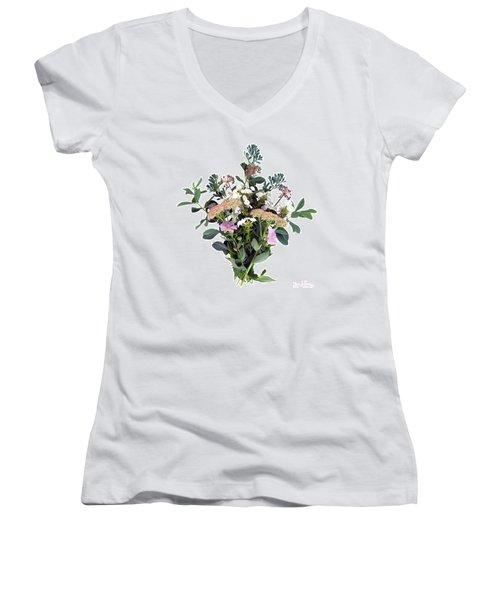 Summer Perrenials Women's V-Neck T-Shirt (Junior Cut) by Lise Winne