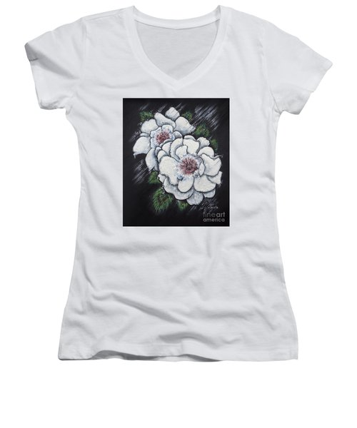 Summer Roses Women's V-Neck T-Shirt (Junior Cut) by Scott and Dixie Wiley