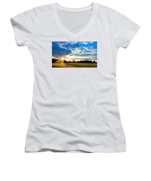 Summer Skies Women's V-Neck (Athletic Fit)