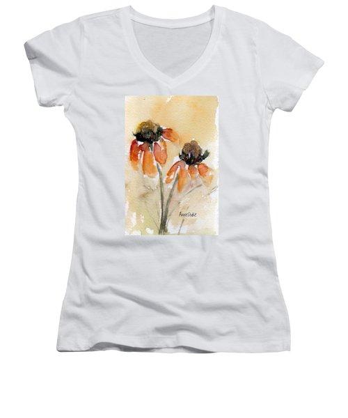 Summer Sunflowers Women's V-Neck T-Shirt (Junior Cut) by Anne Duke