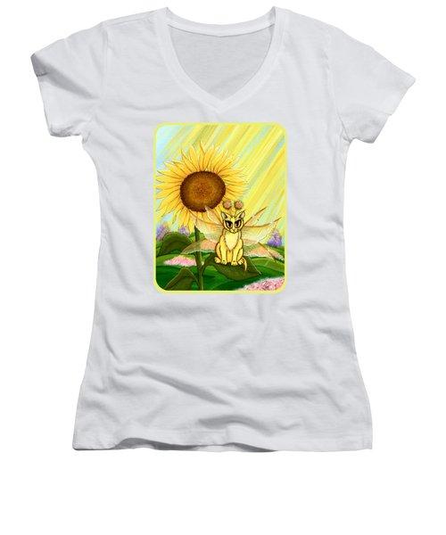 Summer Sunshine Fairy Cat Women's V-Neck T-Shirt (Junior Cut) by Carrie Hawks