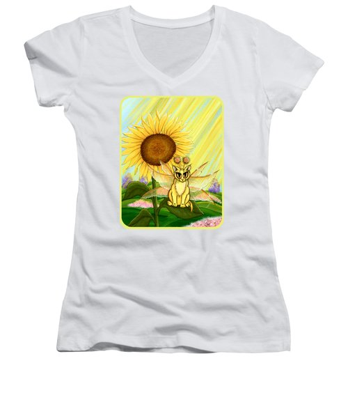 Summer Sunshine Fairy Cat Women's V-Neck T-Shirt